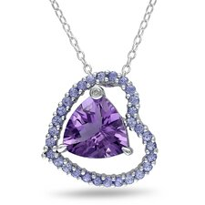 Sterling Silver Pear Cut Amethyst Fashion Pendant