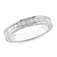 White Gold Round Cut Diamond Band Ring