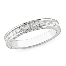 White Gold Round Cut Diamond Band Ring
