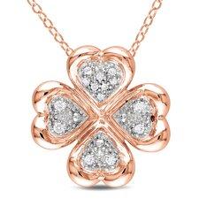 Pink Silver Round Cut Diamond Fashion Pendant