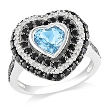 Sterling Silver Heart Cut Topaz Halo Ring