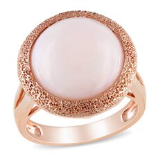 Pink Silver Round Cut Opal Single Stone Ring
