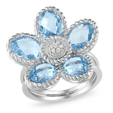 Sterling Silver Oval Cut Sky - Blue Topaz Floral Ring