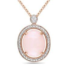 Pink Rhodium Oval Pink Opal Fashion Pendant