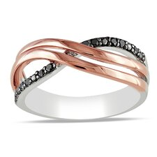 Pink Silver Round Cut Diamond Fashion Ring