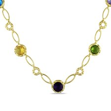 Gold Tone Yellow Plated Round Cut Checkerboard Gemstone Necklace