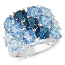 Sterling Silver Round Cut Multi - Colored Gemstone Ring