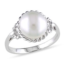 Sterling Silver Round Cut Cultured Pearl Fashion Ring