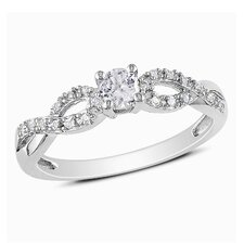 Sterling Silver G-H Round Diamond and Sapphire Halo Ring