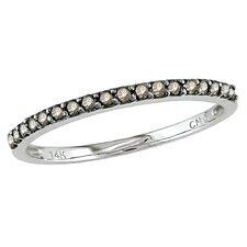 White Gold Round Cut Diamond Stacked Ring