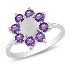 Sterling Silver Round Cut Gemstone Ring