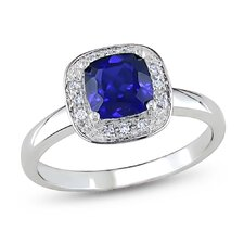 10K White Gold Cushion Cut Sapphire Halo Ring