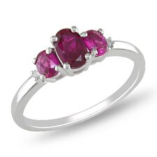 10K White Gold Oval Cut Ruby Ring