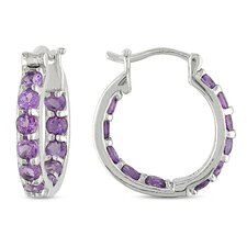 Round Cut Amethyst Hoop Earrings