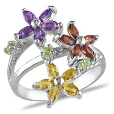 Sterling Silver Marquise Cut Gemstone Flower Statement Ring