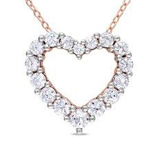 Round Cut Sapphire Heart Pendant