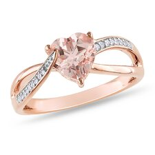 Pink Silver Round Cut Diamond and Morganite Ring