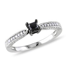 <strong>Amour</strong> Sterling Silver Round Cut Diamond TW Fashion Ring