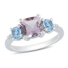 Sterling Silver Sky Fashion Round Cut TGW Morganite Blue Topaz Ring