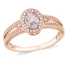 10k Pink Gold Oval Cut Diamond Fashion Ring