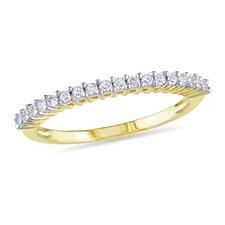 Yellow Silver Round Cut Diamond Anniversary Ring