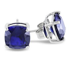 6K Cushion Cut Sapphire Stud Earrings