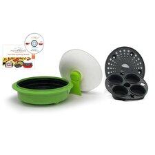 4 Piece 1.5 Qt. Microwave Cookware Everyday Pan Set