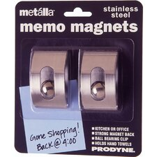 Stainless Steel Magnetic Memo Clip (Pack of 2)
