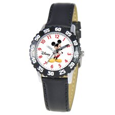 Kid's Mickey Mouse Time Teacher Watch in Black Leather