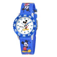 Kid's Mickey Mouse Time Teacher Watch in Blue Nylon