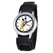 Kid's Mickey Mouse Time Teacher Velcro Watch in Black