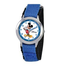 Kid's Mickey Mouse Time Teacher Velcro Watch in Blue
