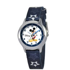 Kid's Mickey Mouse Time Teacher Watch in Printed Blue with White Dial