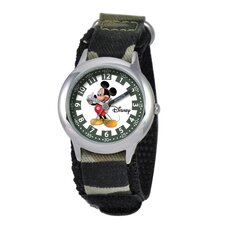 Kid's Mickey Mouse Time Teacher Watch in Green Nylon