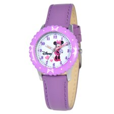 Kid's Minnie Mouse Time Teacher Watch in Purple with Purple Bezel