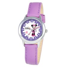Kid's Minnie Mouse Time Teacher Watch in Purple Leather
