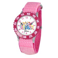 Kid's Princess Stainless Steel Time Teacher Watch in Pink