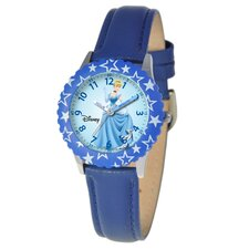 Kid's Cinderella Time Teacher Watch in Blue Leather