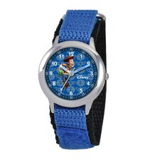 Kid's Woody Time Teacher Velcro Watch in Blue
