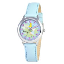 Kid's Tinker Bell Time Teacher Watch in Blue Leather