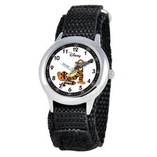 Kid's Tigger Time Teacher Velcro Watch in Black
