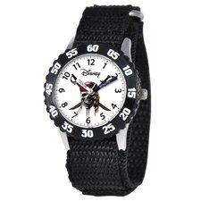 <strong>Disney</strong> Kid's Phineas Stainless Steel Time Teacher Velcro Watch in Black with Black Bezel