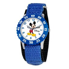 Kid's Mickey Time Teacher Velcro Watch in Blue with Blue Bezel