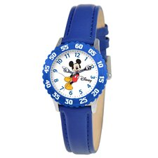 Kid's Mickey Stainless Steel Time Teacher Watch in Blue