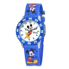 Kid's Mickey Time Teacher Printed Strap Watch in Blue with Blue Bezel