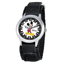 Kid's Mickey Time Teacher Velcro Watch in Black