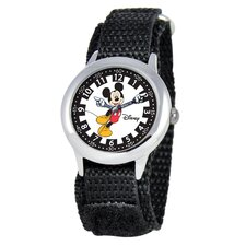 Kid's Mickey Stainless Steel Time Teacher Velcro Watch in Black