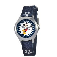 Kid's Mickey Stainless Steel Time Teacher Printed Strap Watch in Blue
