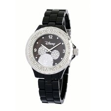 "Womens Mickey Mouse ""Enamel Sparkle"" Bracelet Watch With Stainless Steel Bezel"