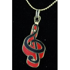 <strong>Harmony Jewelry</strong> G Clef Necklace in Gold and Red